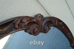 00001 Large Antique Mahogany Mirror in Fancy Carved Picture Frame