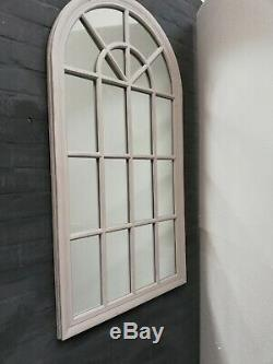 130 cm Large Grey Arched Wall Mounted Window Mirror Garden Indoor beautiful