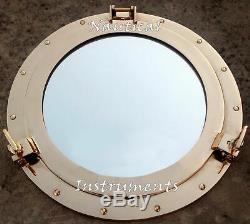 17 Large Brass Porthole Window Wall Mirror Nautical Maritime Boat Ship Decor