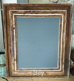 1800's LARGE Shabby Cream Wall MIRROROrnate Carved Wood Painted French GESSO