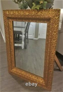 1880s ANTIQUE VICTORIAN ORNATE WOOD GESSO WALL MIRROR FRAME DEEP LARGE 38x30