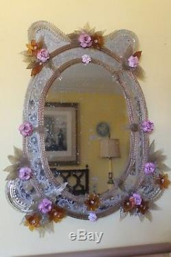 19thc LARGE ITALIAN REVERSE ETCHED EGLOMISE FLORAL DECOR VENETIAN WALL MIRROR