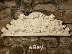 1 Architectural large cherub angel ornate plaster over door mirror wall plaque