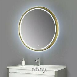 20 Large Gold Wall Hanging Mirror LED Dimmable Light Round Bathroom Bedroom