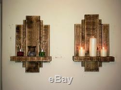 2 Large Floating Shelf Wall Art Reclaimed Shabby Chic Furniture Storage Shelves