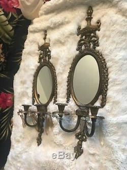 2 VINTAGE ANTIQUED large BRASS OVAL MIRROR CANDLESTICK HOLDER WALL SCONCES