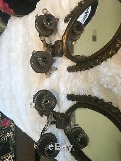 2 VINTAGE ANTIQUED large BRASS OVAL MIRROR CANDLESTICK HOLDER WALL SCONCES