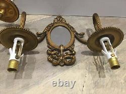 2 Vintage French Node Brass Rococo Bronze Wall Lamps Sconce Mirror