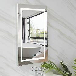 32 Modern Led Illuminated Bathroom Mirror Anti-fog Shaver Socket Wall Mounted