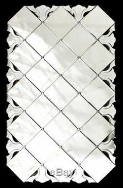 47H Large Modern Silver Venetian Tulip Mirror Rectangular Frame Wall Decor