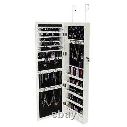 47 Large Wall Mounted Jewelry Mirror Cabinet Organizer Dressing Mirror WithLED US