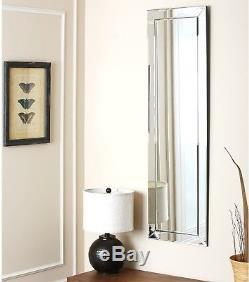 Abbyson Loft Rectangle Wall Mirror Full Length Silver Frame Large Floor Bedroom