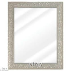 Accent Wall Mirror Large Decor Ornate Ivory Silver Frame Vanity Bathroom Bedroom