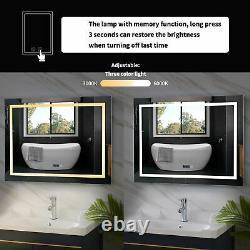 Adustable Bathroom LED Lighted Wall Mounted Mirror Vanity Time Display Anti Fog