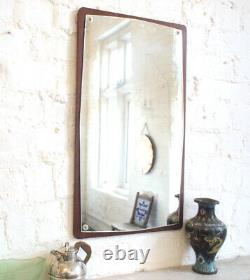 Antique 1970s Atomic Wall Mirror Large Big Teak Wood Edge Vintage Retro