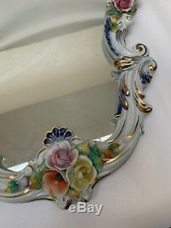 Antique Capodimonte Meissen Wall Mirror Porcelain Floral Ornate Large 32