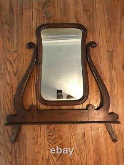 Antique Carved Farmhouse Vanity Dresser Wood Mirror Ornate LARGE Wall Fireplace
