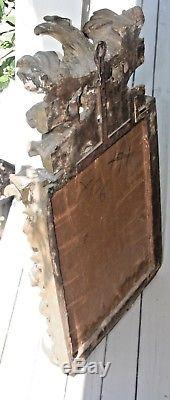 Antique Carved Gilt Wood Wall Mirror Baroque Style Eagle Federal Heavy Large Old