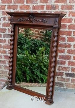 Antique English Oak Large BARLEY TWIST Wall Mantel Pier Fireplace Mirror