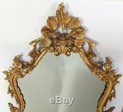 Antique Estate Gold Gilt Large Ornate Carved Wood Wall Hanging Mirror