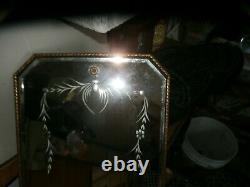 Antique Gold Wall Mirror Vintage Large Ornate Waterfall Beveled Mirror 24 x 12