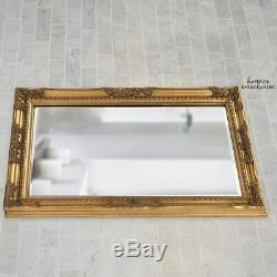 Antique Gold Wall Mirror Vintage Style Large Ornate Scroll Beveled Mantle Mirror