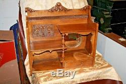Antique Large American Oak Single Drawer Multi-Tier Display Wall Shelf with Mirror