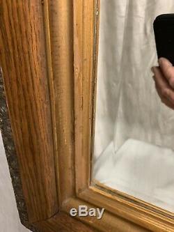 Antique Large Oak Ornate Wall Beveled Mirror