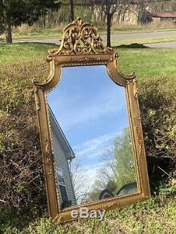 Antique Large Ornate Carved Wood Wall Hanging Mirror