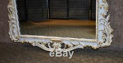 Antique Large Ornate French Style Wall Mirror withGold Highlights