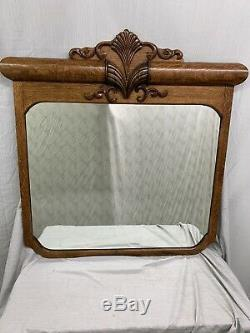 Antique Large Quartered Oak Ornate Wall Mirror WOW