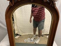 Antique Large Victorian Walnut Wood Wall Mirror 1800's