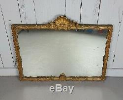 Antique Louis XV Style Lrg Giltwood Carved Wall Mirror Rococo framed shell gold