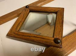 Antique Oak Wall Hanging Coat Hat Rack Beveled Glass Mirror Ornate Large Hooks