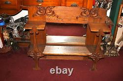 Antique Oak Wood Wall Mounted Shelf Mirror Religious Crosses LARGE Detailed
