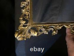 Antique Ornate Large BRASS Mirror with Leaves Brass Hanging Wall Vanity Mirror