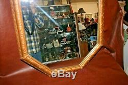 Antique Ornate Rectangular Octagon 32x23 Large Gilt Framed Hanging Wall Mirror
