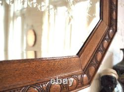 Antique Rectangle Arts and Crafts Wall Mirror Large Wood Edge Vintage Beveled