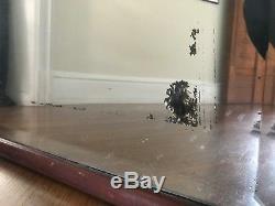 Antique Rectangular Oak Wood Framed Large 36 x 44 Hanging Wall Mirror