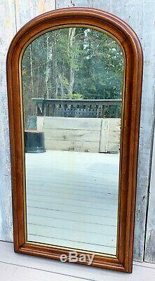 Antique Victorian Large 45 Walnut Arch Wall Mirror with Gilt Gesso Liner c. 1900
