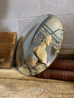 Antique Vintage Circular Convex Wall Mirror Art Deco Frameless Distortion Large
