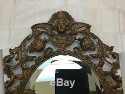 Antique Vintage French Brass Bronze Cherub Mirror Wall Sconce Girandole Large