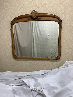 Antique Vintage Large Oak Wall Beveled Mirror