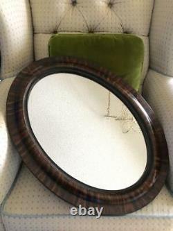 Antique Vtg Tiger Wood Large Oval Frame Wall Mirror Elegant