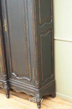 Antique french Large Scale Armoire Wardrobe Cheval Mirror Wall Unit Hand Carved