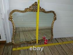 Antique wall mirror gold gilt wood Ornate scroll Large Heavy Beautiful Vtg FS