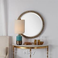Antiqued Metallic Gold Tree Bark Round Beveled Wall Mirror Modern Chic Large 30