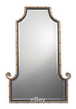 Bamboo Curl Flat Top Arch Gold & Black Wall Mirror Large 42