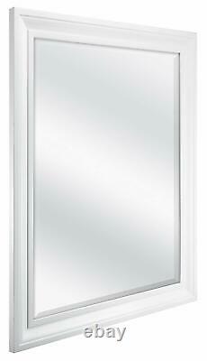 Bathroom Mirror For Wall Beveled Frame White Decor Mount Hanging Vanity Large