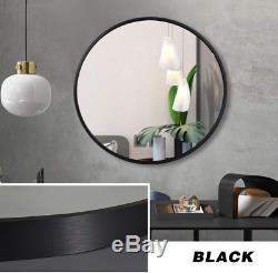 Bathroom Vanity Wall Mirror Round Large Black Metal Modern 24 Bedroom Lounge